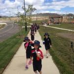 Walking back to school from sport on Rockley Oval
