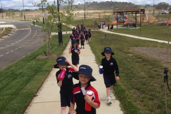 Walking back to school from sport on Rockley Oval